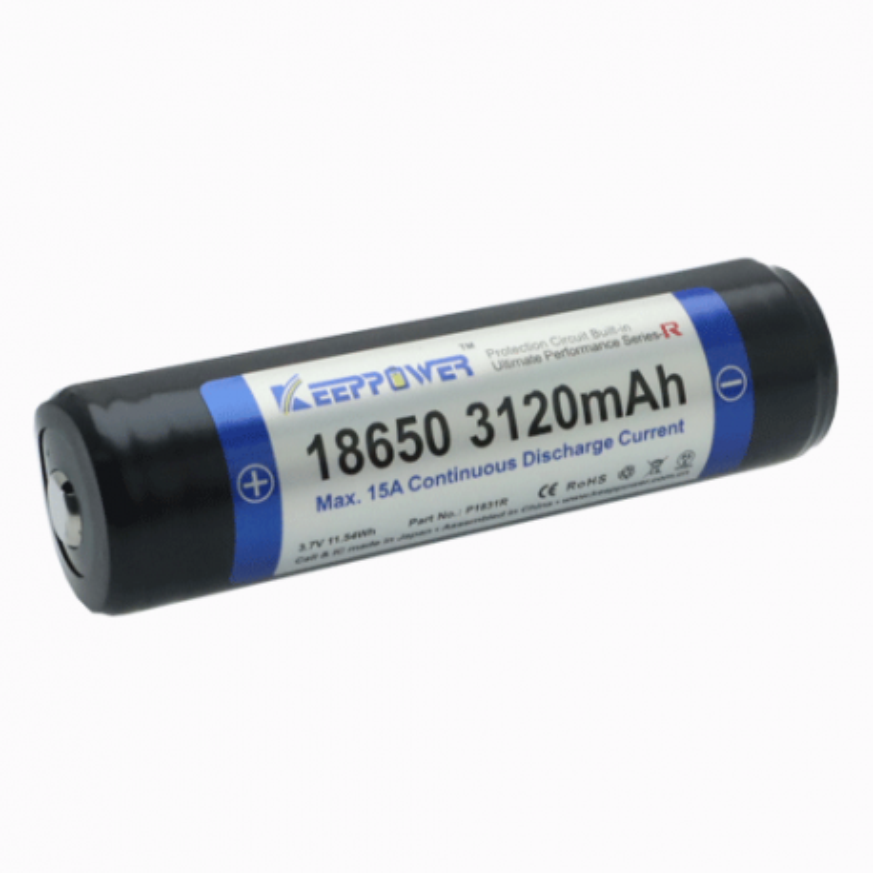 18650 KeepPower 3500mAh Sanyo NCR18650GA Protected Button Top