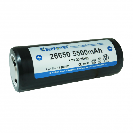 26650 KeepPower 5200mAh Protected High Discharge Flat Top rechargeable battery